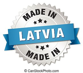 made in Latvia silver badge with blue ribbon