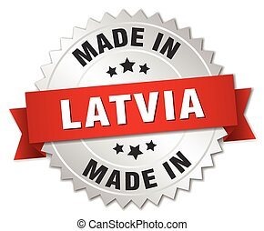 made in Latvia silver badge with red ribbon