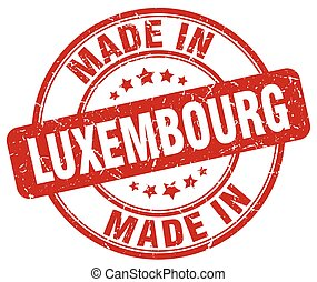 made in Luxembourg red grunge round stamp