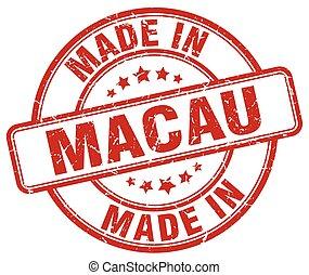 made in Macau red grunge round stamp