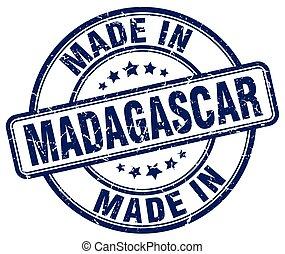 made in Madagascar blue grunge round stamp
