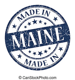 made in Maine blue round grunge isolated stamp