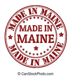 Made in Maine grunge rubber stamp, vector illustration
