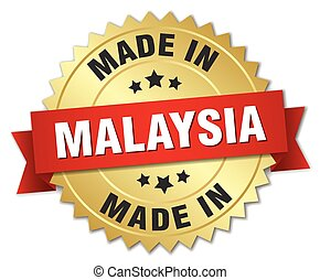 made in Malaysia gold badge with red ribbon