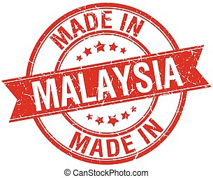 made in Malaysia red round vintage stamp
