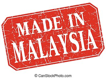 made in Malaysia red square grunge stamp