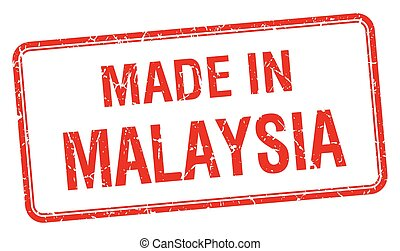 made in Malaysia red square isolated stamp