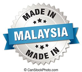 made in Malaysia silver badge with blue ribbon