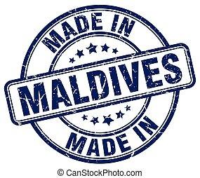 made in Maldives blue grunge round stamp