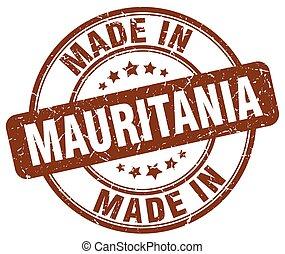 made in Mauritania brown grunge round stamp