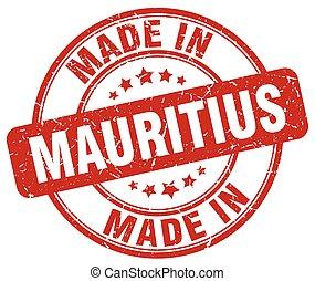made in Mauritius red grunge round stamp