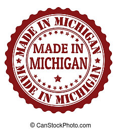 Made in Michigan grunge rubber stamp, vector illustration