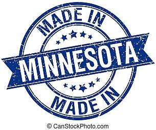 made in Minnesota blue round vintage stamp