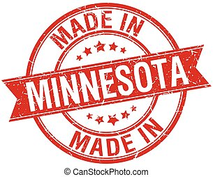 made in Minnesota red round vintage stamp