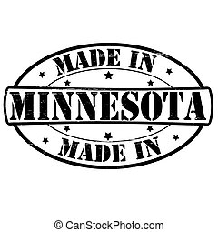 Stamp with text made in Minnesota inside, vector illustration