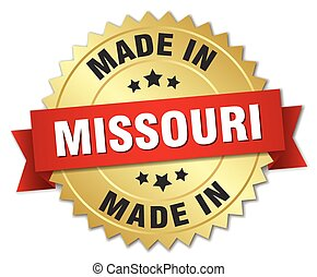 made in Missouri gold badge with red ribbon
