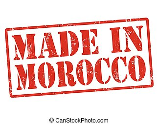 Made in Morocco grunge rubber stamp on white, vector illustration