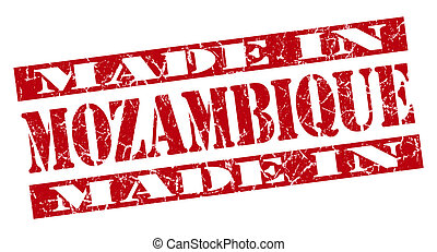 made in Mozambique grunge red stamp