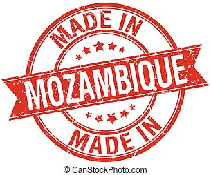 made in Mozambique red round vintage stamp