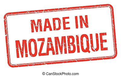 made in Mozambique red square isolated stamp