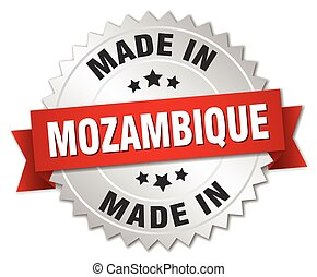 made in Mozambique silver badge with red ribbon
