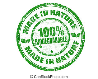 Made in Nature stamp - Green grunge rubber stamp with the ...