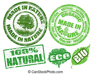 Made in nature stamps - Set of grunge rubber stamps with the...