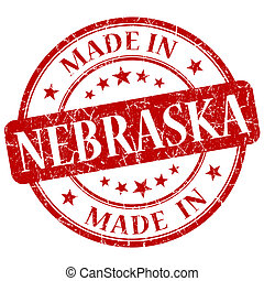 made in Nebraska red round grunge isolated stamp
