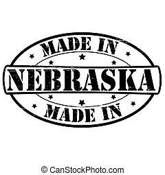 Stamp with text made in Nebraska inside, vector illustration
