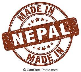 made in Nepal brown grunge round stamp
