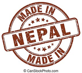 made in Nepal brown grunge round stamp
