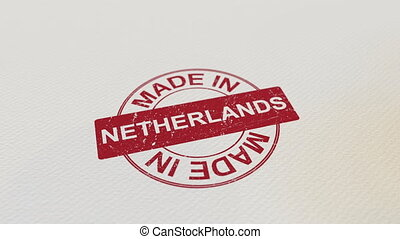 MADE IN NETHERLANDS wooden stamp conceptual animation. Alpha...