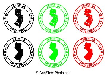 Made in New Jersey - rubber stamp - vector, New Jersey (United States of America) map pattern - black, green and red