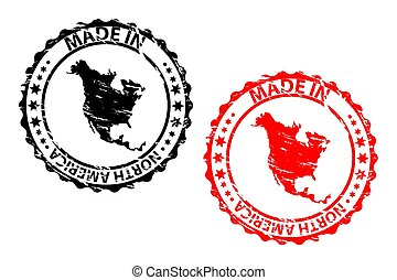 Made in North America - rubber stamp - vector - North...