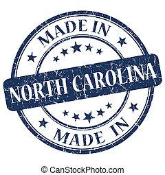 made in North Carolina blue round grunge isolated stamp