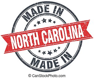 made in North Carolina red round vintage stamp