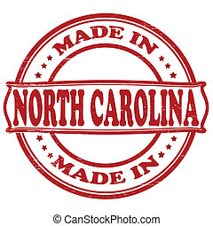 Made in North Carolina - Stamp with text made in North...
