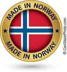 Made in Norway gold label with flag, vector illustration