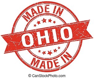 made in Ohio red round vintage stamp