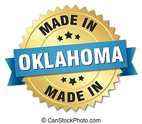 made in Oklahoma gold badge with blue ribbon