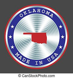 Made in Oklahoma local production sign, sticker, seal, stamp. Round hologram sign for label design and national marketing