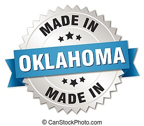 made in Oklahoma silver badge with blue ribbon