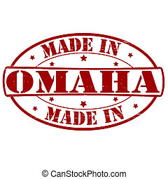 Made in Omaha - Stamp with text made in Omaha inside, vector...