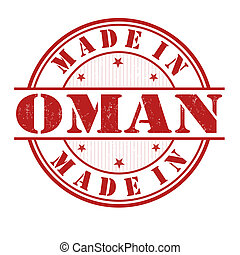 Made in Oman grunge rubber stamp on white, vector illustration