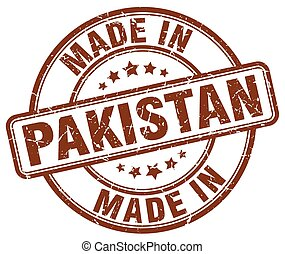 made in Pakistan brown grunge round stamp