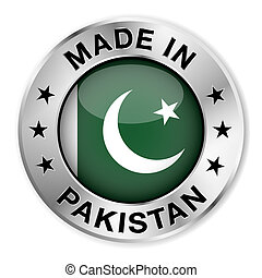 Made in Pakistan silver badge and icon with central glossy Pakistani flag symbol and stars. Vector EPS10 illustration isolated on white background.