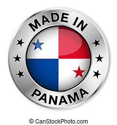 Made In Panama - Made in Panama silver badge and icon with...