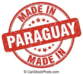 made in Paraguay red grunge round stamp