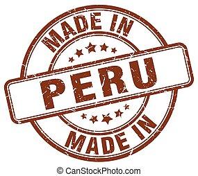 made in Peru brown grunge round stamp