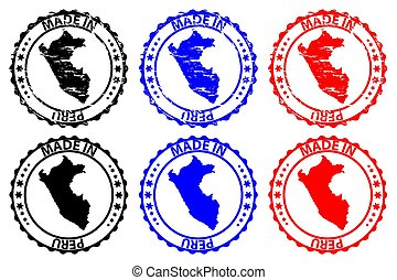 Made in Peru - rubber stamp - vector, Peru map pattern -...